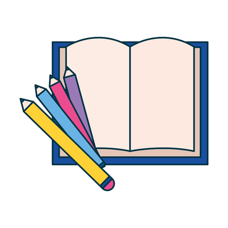 open book pencils education supplies school vector illustration  イラスト・ベクター素材