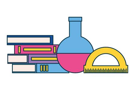 books test tube and protractor education supplies school vector illustration Ilustracja