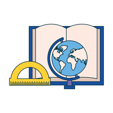 book globe and protractor education supplies school vector illustration
