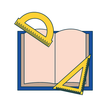 book protractor ruler education supplies school vector illustration