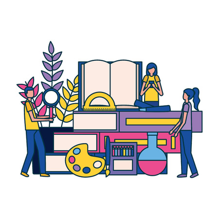 sudents books chemistry flask paint color education supplies school vector illustration vector illustration
