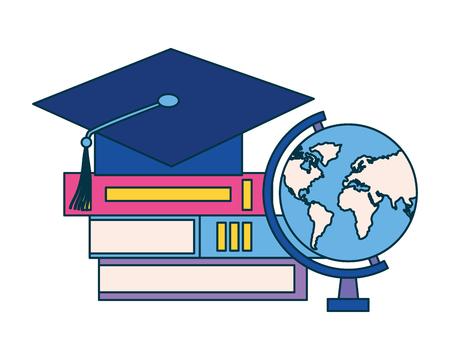 graduation hat world books education supplies school vector illustration vector illustration