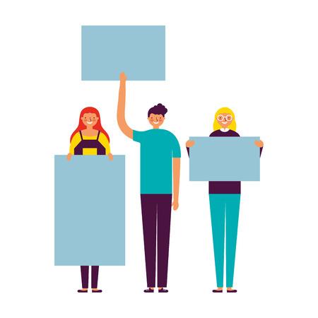 people group smiling holding banner vector illustration Vector Illustratie
