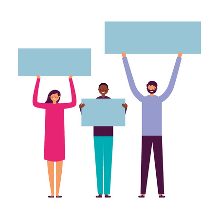 people group smiling holding banner vector illustration