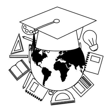 world graduation hat education supplies school vector illustration vector illustration