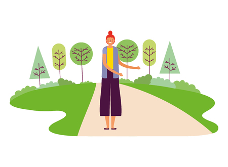 woman character tree park outdoors vector illustration