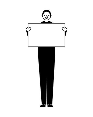 man smile holding empty banner vector illustration Illustration
