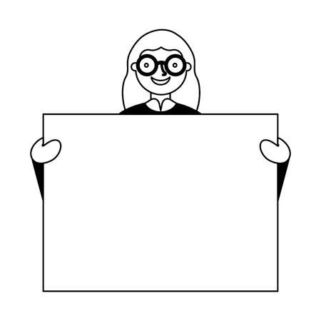 woman portrait with blank banner vector illustration Illustration