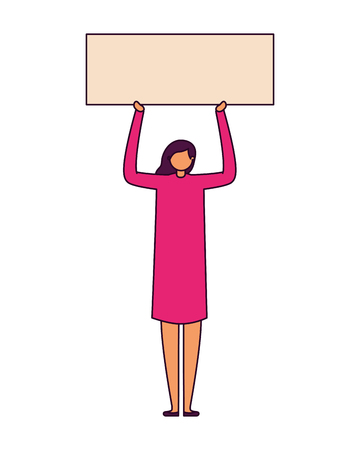 casual happy woman holding banner vector illustration