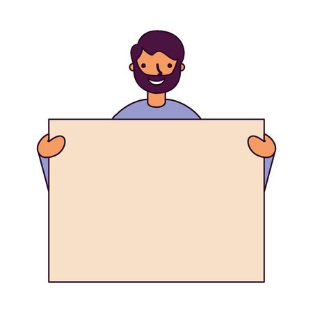 man portrait with blank banner vector illustration