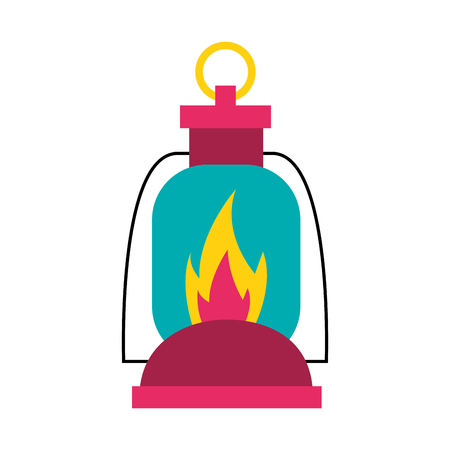 burning lantern on white background vector illustration