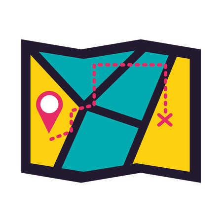 map tracking navigation on white background vector illustration