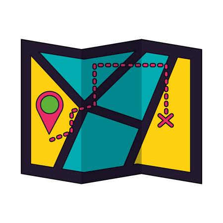 map tracking navigation on white background vector illustration