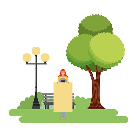 woman holding banner in the park vector illustration Illustration