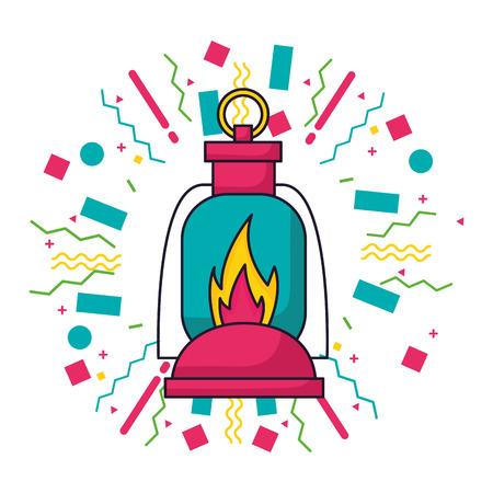 lantern flame equipment camping summer vector illustration