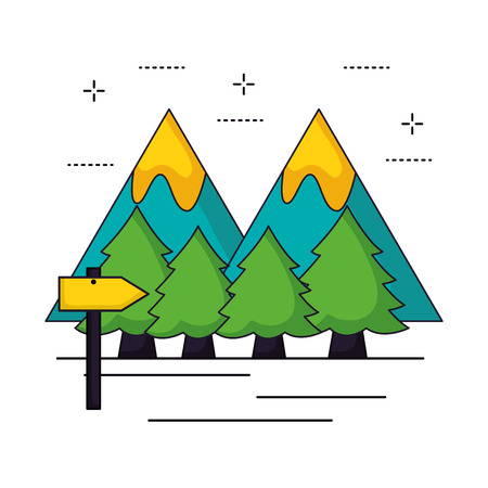 mountains forest signal camping summer vector illustration Illustration