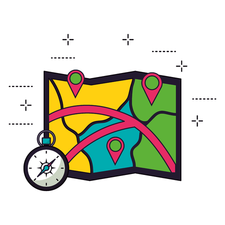 map location and compass camping summer vector illustration 向量圖像