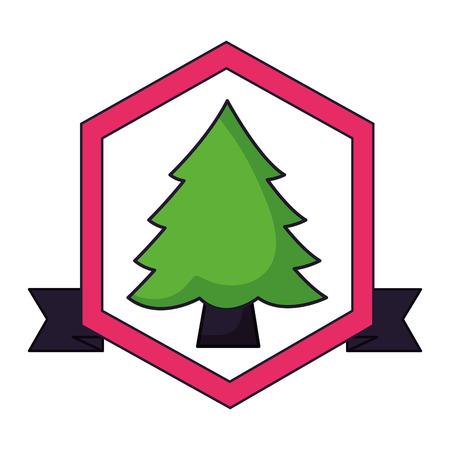 pine tree camping label ribbon vector illustration Archivio Fotografico - 127349709
