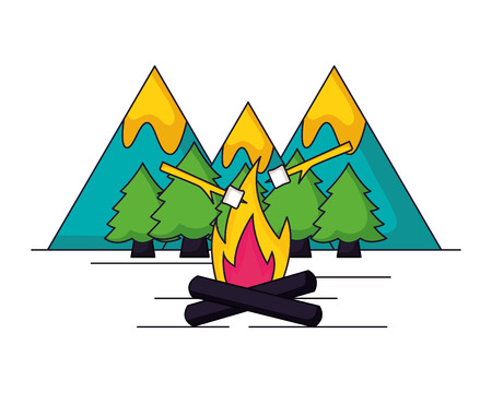 mountains forest and bonfire camping summer vector illustration Illustration