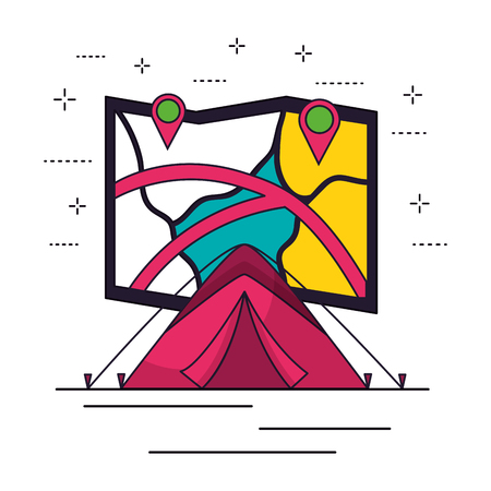 tent map location camping summer vector illustration Ilustrace