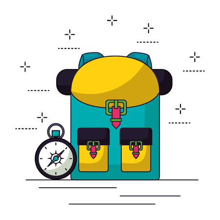 backpack and compass camping summer vector illustration  イラスト・ベクター素材