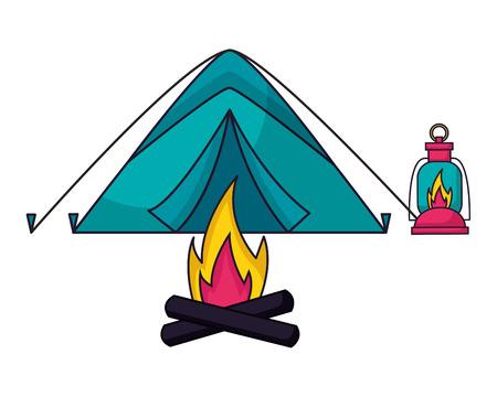 tent bonfire and lantern camping summer vector illustration