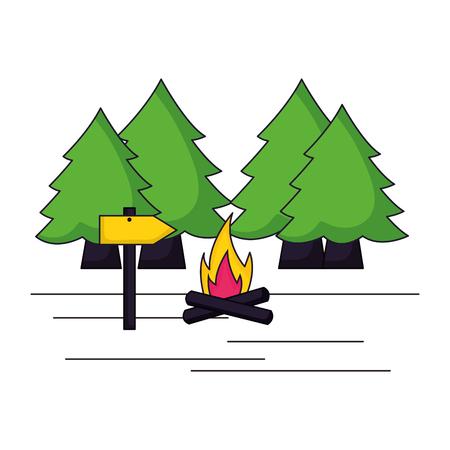 forest trees bonfire camping summer vector illustration Banque d'images - 127349728
