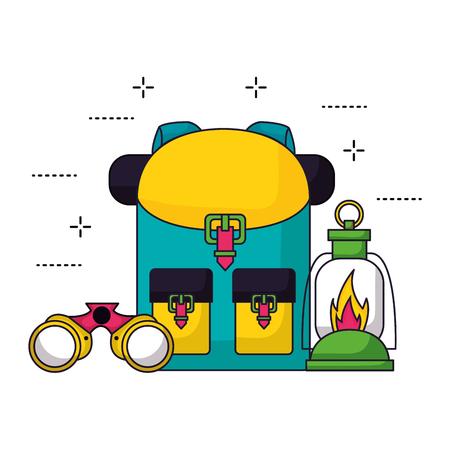 backpack lantern binocular camping summer vector illustration