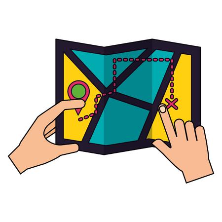hands holding map location camping summer vector illustration