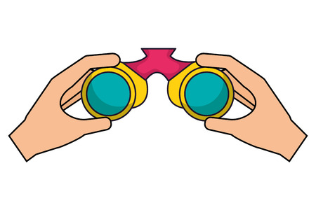 hands with binoculars camping summer vector illustration Stock Illustratie