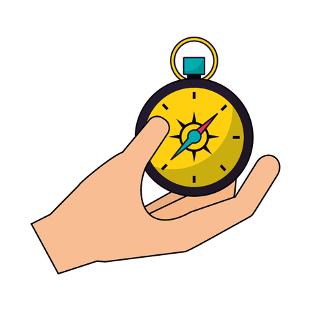 hand holding compass camping summer vector illustration Ilustrace