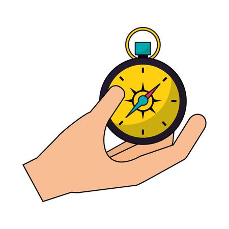 hand holding compass camping summer vector illustration Çizim