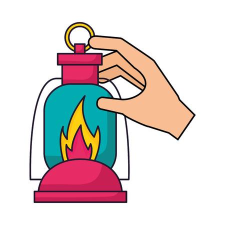 hand met lantaarn camping zomer vectorillustratie
