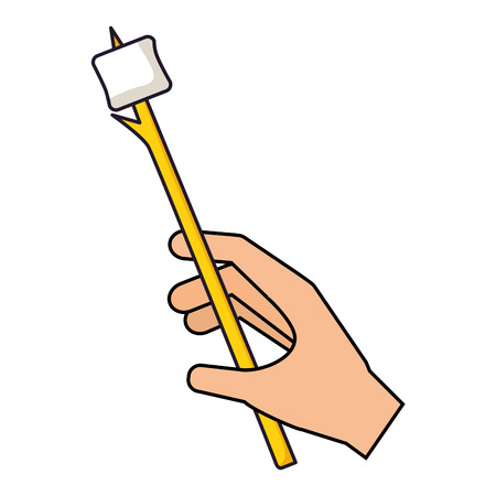 hand holding marshmallow with stick camping vector illustration