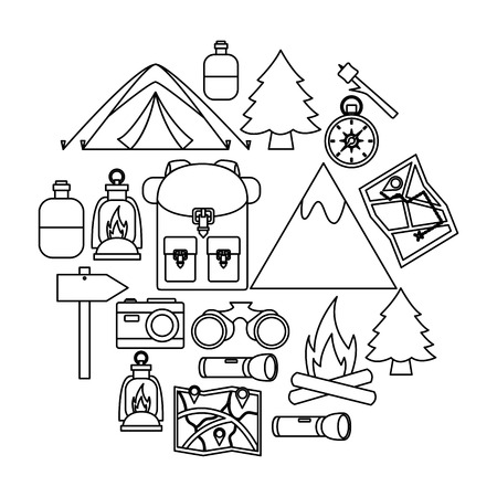 mountains backpack equipment camping summer vector illustration