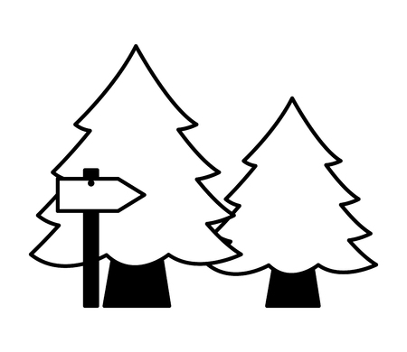 pine trees and guide arrow camping summer vector illustration Stock Illustratie
