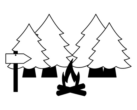 forest trees bonfire camping summer vector illustration Banque d'images - 127349758
