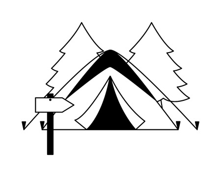 tent forest and guide signal camping summer vector illustration 일러스트
