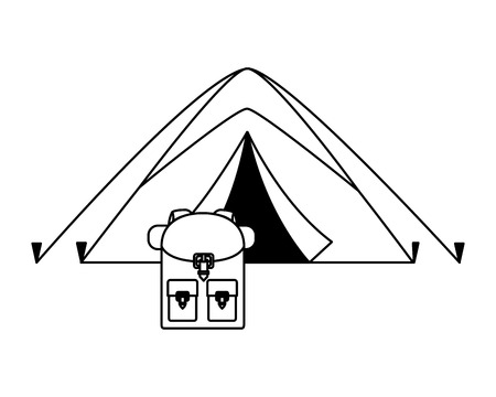 tent and backpack camping summer vector illustration
