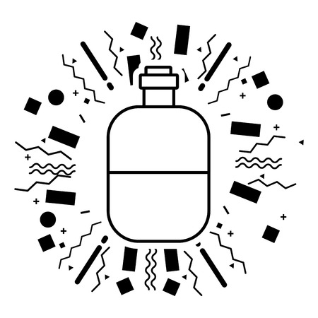 water bottle equipment camping summer vector illustration