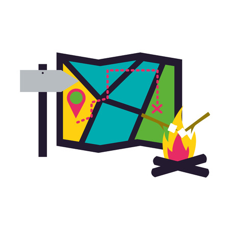 map location bonfire and arrow guide camping summer vector illustration Stock Illustratie