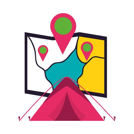 tent map location camping summer vector illustration Illustration