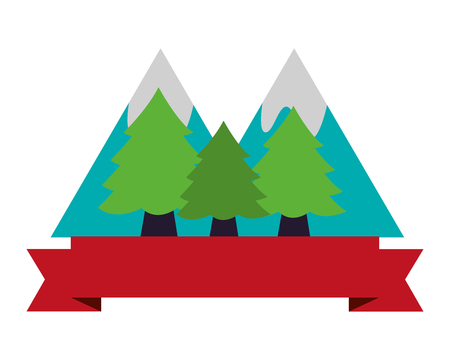 forest mountains banner camping summer vector illustration