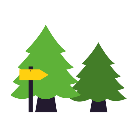 pine trees and guide arrow camping summer vector illustration Illusztráció