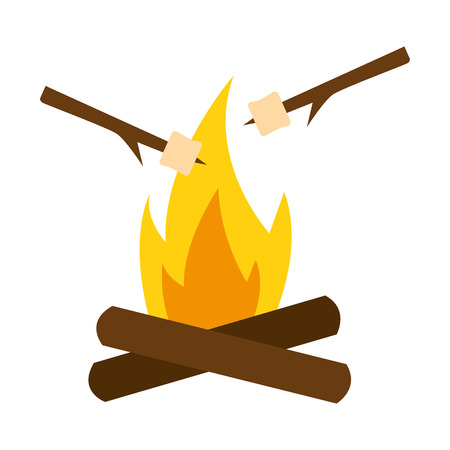 marshmallows roasted on wooden stick with campfire vector illustration