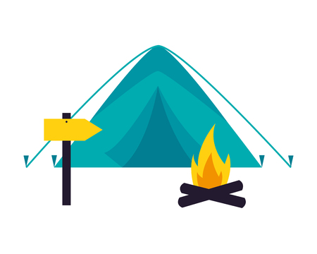 tent and burning campfire camping summer vector illustration
