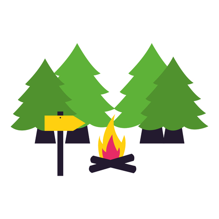 forest trees bonfire camping summer vector illustration