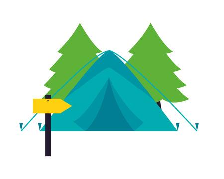 tent forest and guide signal camping summer vector illustration Illusztráció