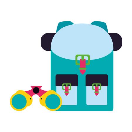 backpack and binoculars camping summer vector illustration Illustration