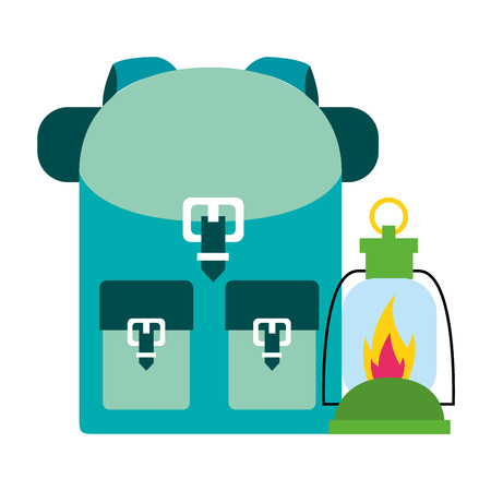 backpack and lantern camping summer vector illustration Illustration